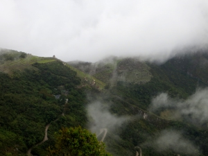 Finally the clouds start to clear and Machu Picchu comes into view